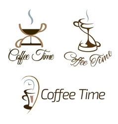 Set of coffee time logo design vector image