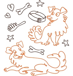 Set of Funny Doodle Dogs vector