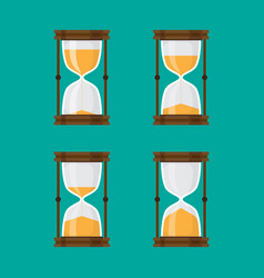 set of hourglass isolated green background vector image