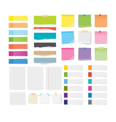 Set sticky note and torn paper sheets isolated vector