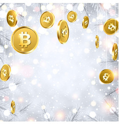shiny winter background with gold bitcoins vector image