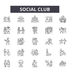 social club line icons signs set linear vector image