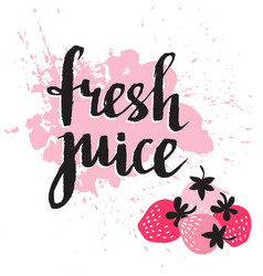Strawberry fresh juice graphic design with pink vector
