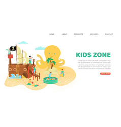 summer rest kids zone inscription banner vector image