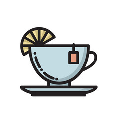 tea cup with slice of lemon and teabag label icon vector image