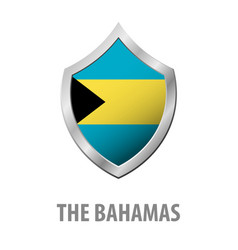 The bahamas flag on metal shiny shield vector