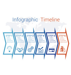 timeline infographic arrows on map numbered for 6 vector image