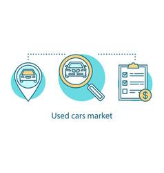 Used car market concept icon vector