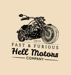 vintage motorcycle logobiker store iconmc vector image