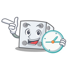 With clock dice character cartoon style vector