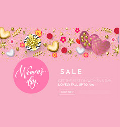 womens day greeting card banner gold heart vector image