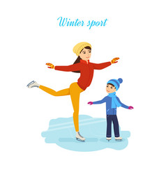 Young mother with a son ride on the rink vector