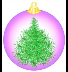 christmas-tree toy ball vector image vector image