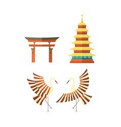 flat japanese pagoda crane and torii gate icons vector image