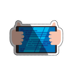hands holding tablet technology vector image