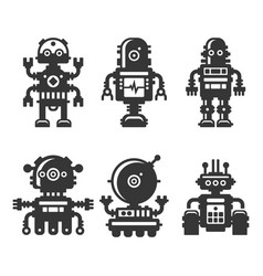robot icons set on white background vector image