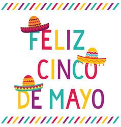cinco de mayo card with sombrero hats vector image