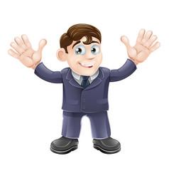 cute businessman in suit waving vector image