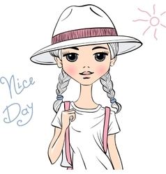 girl traveler in white hat vector image