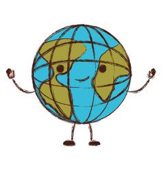 globe world cartoon kawaii in colorful blurred vector image vector image