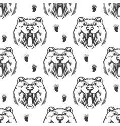 Seamless pattern with grizzly bear vector image