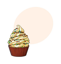hand drawn cupcake with perfect cream swirls and vector image vector image