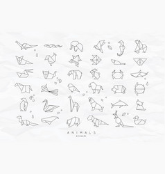 animals flat origami set crumpled vector image