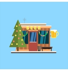 Beer Shop Front in Christmas vector image vector image