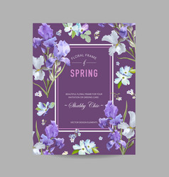 floral bloom spring frame with purple iris flowers vector image