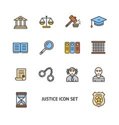 Justice Color Icon Set vector image
