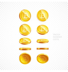 set gold bitcoin coin isolated background vector image