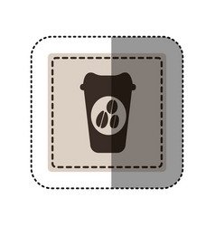 sticker monochrome square with disposable coffee vector image vector image