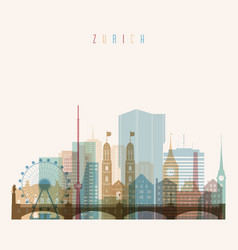 zurich skyline detailed silhouette transparent vector image vector image