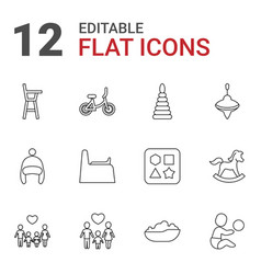 12 kid icons vector