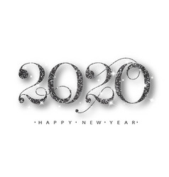 2020 happy new year black numbers design vector image