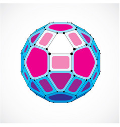 Abstract low poly object with black lines and vector