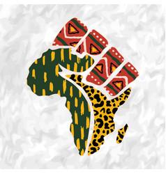 Africa continent map tribal art human hand shape vector