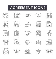 Agreement line icons editable stroke signs vector