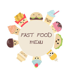 background with cute fast food meals background vector image
