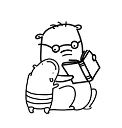 Bears reading a book outline coloring page vector
