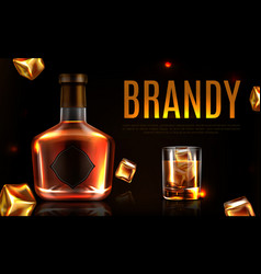 brandy bottle and glass promo ad banner poster vector image