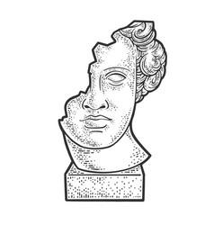 Broken head statue sketch vector