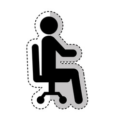 Businessman silhouette sitting in office chair vector