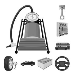 Car lift pump and other equipment monochrome vector