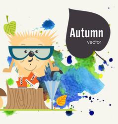 cartoon hedgehog hipster styl vector image