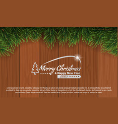 christmas with fir branch border frame on top of vector image
