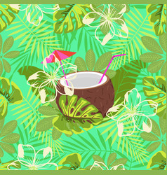 cocktail pattern in coconut vector image