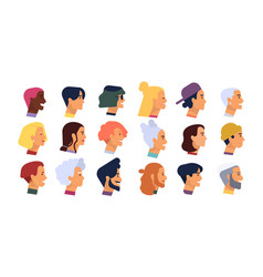 collection profile portraits or heads male vector image