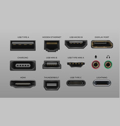 Connector and ports usb type a and type c video vector