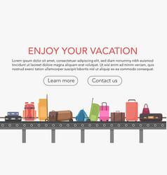 Conveyor belt in airport baggage hall baggage vector